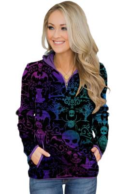 Sweat-shirt violet à imprimé fantaisie inspiré d'Halloween avec poches