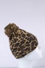 Коричневая шапка с леопардовым помпоном