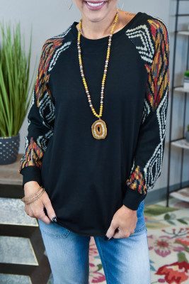 Black Ethnic Print Raglan Top