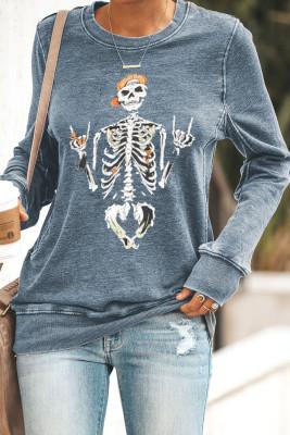 Graues lustiges Skelett-Druck-Rundhals-Halloween-Sweatshirt