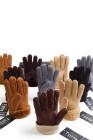 قفازات شتوية عصرية مبطنة من الجلد المدبوغ الصناعي من الكاكي