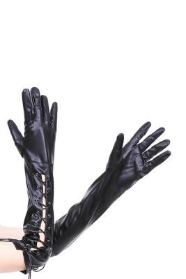 Czarne, regulowane, gumowane nitowane rękawiczki z długimi palcami