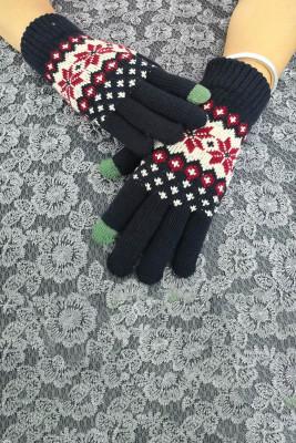 Drukowane zimowe ciepłe dzianinowe rękawiczki