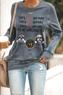 Grey Fun Dog & Letter Print Rundhals-Langarm-Sweatshirt