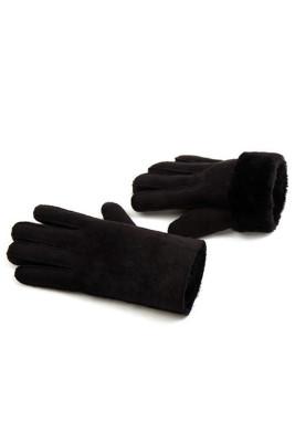 Czarne syntetyczne zamszowe, pluszowe, modne rękawiczki zimowe