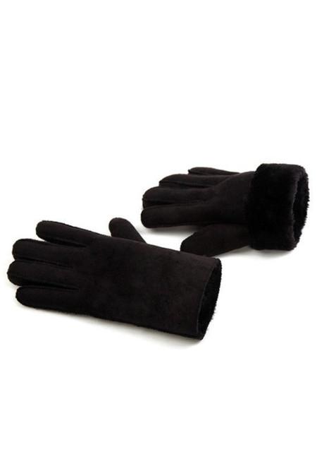 قفازات شتوية عصرية مبطنة من الجلد المدبوغ الصناعي باللون الأسود
