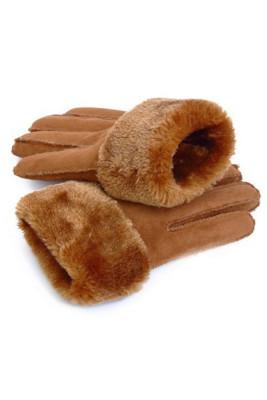 Khaki syntetyczne sztuczne zamszowe pluszowe podszyte modne rękawiczki zimowe