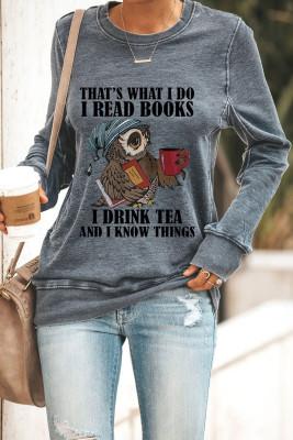 Grey Fun Owl Print Rundhals-Langarm-Sweatshirt