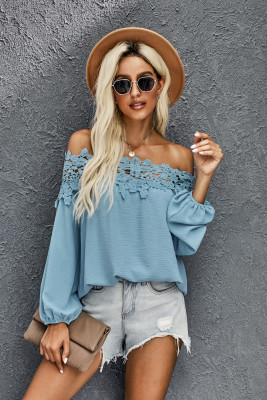 Sky Blue Blooming Lace Off The Shoulder Top