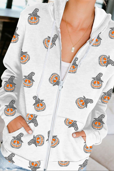 Sweat à capuche zippé blanc Halloween Element Printing Drawstring