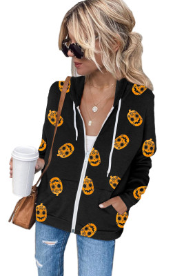 Schwarzer Schädel, der Kordelzug-Reißverschluss-Halloween-Hoodie druckt