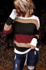 Roter Colorblock Strickpullover