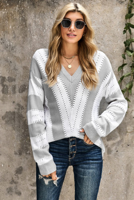 Gray Striped Colorblock V Neck Knitted Sweater