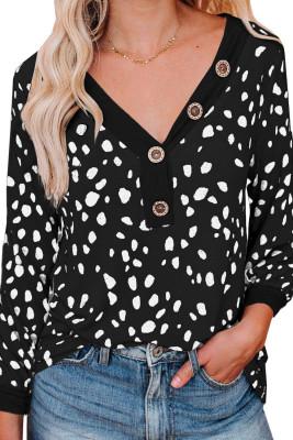 Haut en tricot noir à manches longues et imprimé tacheté