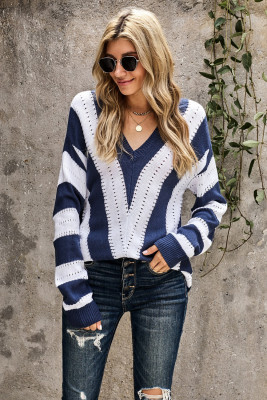 Blue Striped Colorblock V Neck Knitted Sweater