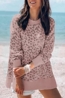 Pinkes Drop-Sleeve-Sweatshirt mit Modedruck und geripptem Besatz