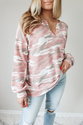 Pink Split Neck Camo Thermal Knit Top