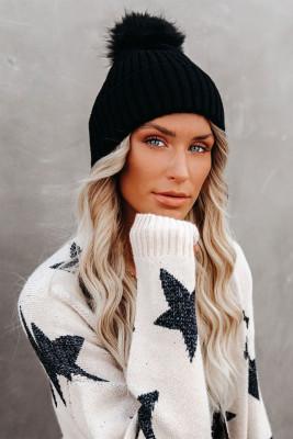 Bonnet d'hiver tricoté à pompon noir