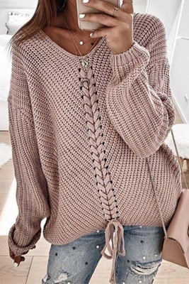 Pink V-neck Lace Up Knitted Sweater