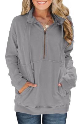 Baumwolle Pocketed Half Zip Pullover Grau Sweatshirt
