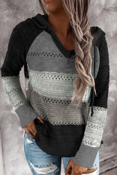 Pull à capuche tricoté noir Beach Bonfire