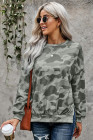 High-low Edge Camo Print Sweatshirt