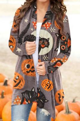 Кардиган на Хэллоуин с разноцветным шалевым воротником и принтом тыквы и кошек