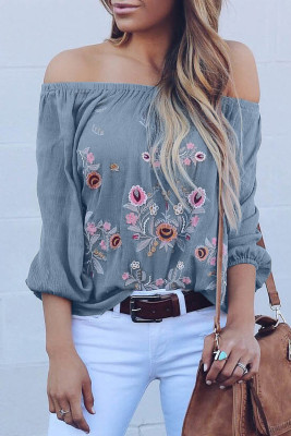 Blue Embroidered Off Shoulder Long Sleeve Bohemian Floral Blouse