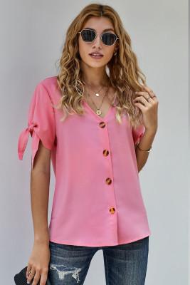 Blusa de gasa con cuello en V de manga corta con nudo de lazo casual rosa