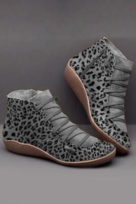 Šedé leopardí boty na zip