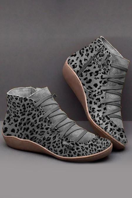 Серые ботинки с леопардовым принтом на молнии по бокам