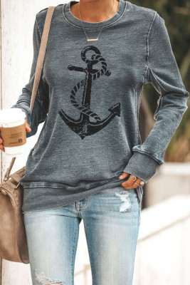 Black Letters Grafik Sweatshirt mit Rundhalsausschnitt