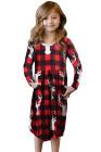 فستان أحمر منقوش للأطفال بجيوب مخفية