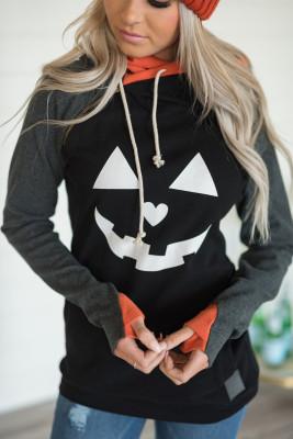 Schwarzer Halloween-Druck-Farbblock-Taschen-Hoodie