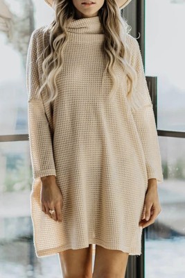 Khaki Cowl Neck Long Sleeve Pocketed Knit Mini Dress