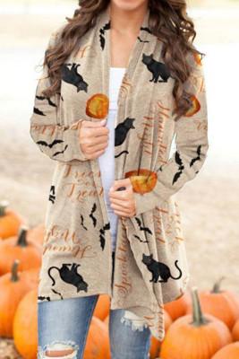 Cardigan tricoté Halloween kaki à imprimé ouvert