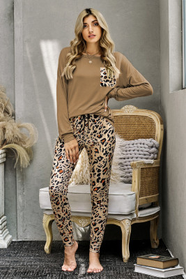 Brown Casual Long Sleeve Leopard Pants Loungewear Set