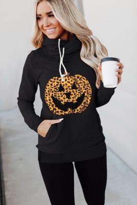 Schwarzer Cowl Neck Pumpkin Print Halloween Hoodie