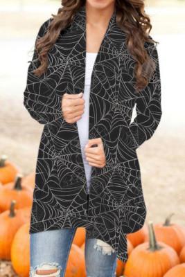 Schwarze Halloween-Strickjacke mit offenem Aufdruck