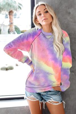 Sudadera con capucha y manga raglán de patchwork multicolor