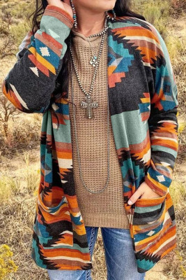 Multi-color Aztec Print Pocket Open Front Cardigan