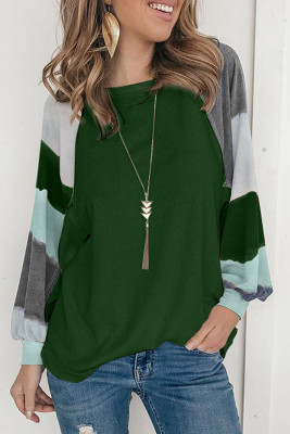 Green Lantern Sleeve Color Block Pullover Loose T-shirts