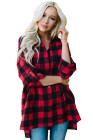 Red Buffalo Plaid Button Up Oversized Casual Blouse
