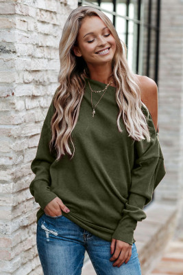 Green Ribbed Zip Knit Top