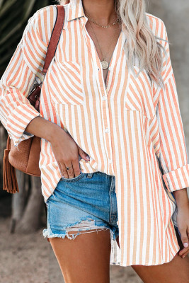 Orange Stripe Linen Dropped Sleeve Button Down Blouse with Pocket