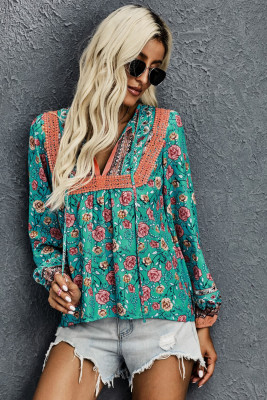 Blusa com mangas de lanterna floral verde e decote em V