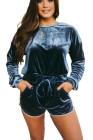 Conjunto de pantalones cortos de terciopelo azul oscuro con costura lateral