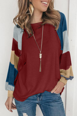 Wine Lantern Sleeve Color Block Pullover Loose T-shirts