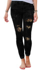 Black Ripped Leopard Patch Pocket Skinny Jeans