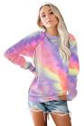 Mehrfarbiges Patchwork-Pullover-Sweatshirt mit Raglanärmeln